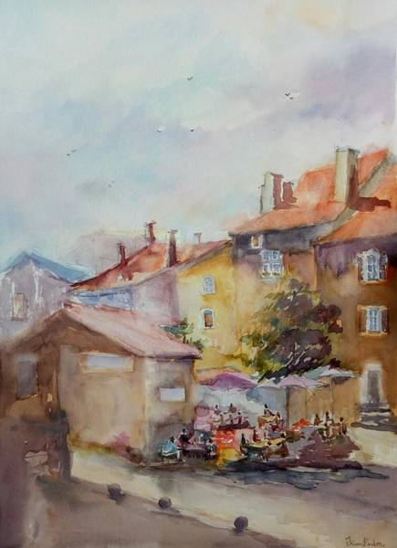 Wall Art - Painting - Chauvigny Prends Des Couleurs 1 by Kim PARDON