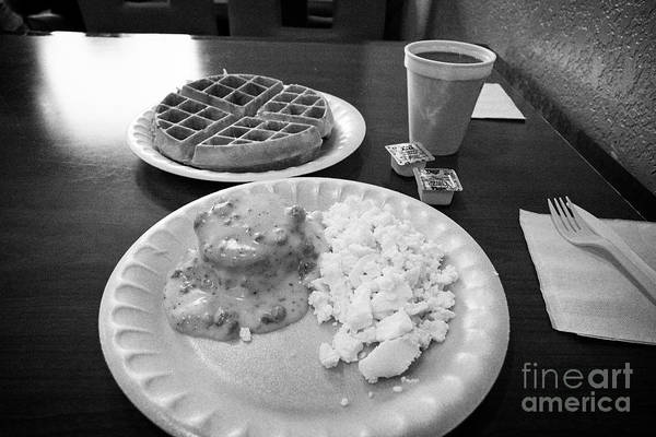 Wall Art - Photograph - Cheap Hotel Breakfast Of Biscuits And Gravy, Eggs, Waffle And Coffee Georgia Usa by Joe Fox
