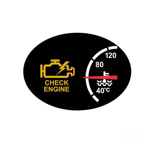 Dashboard Digital Art - Check Engine Warning Symbol Icon by Aloysius Patrimonio