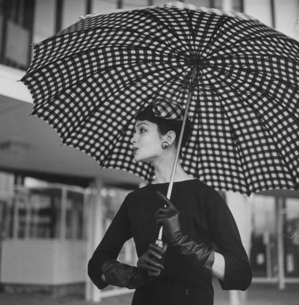 Parasol Photograph - Checked Parasol, Used At The Racetrack by Nina Leen