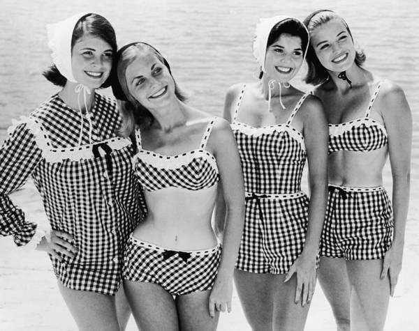 Toothy Smile Photograph - Checkered Bathers by Archive Photos