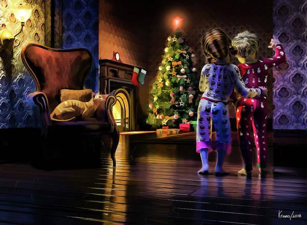 Digital Art - Checking On Santa's Arrival by Ken Morris