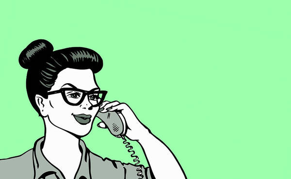 Wall Art - Photograph - Cheerful Woman Talking On Landline Phone by Ikon Images