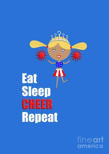 Digital Art - Cheerleader And Pom Poms With Text Eat Sleep Cheer by Barefoot Bodeez Art