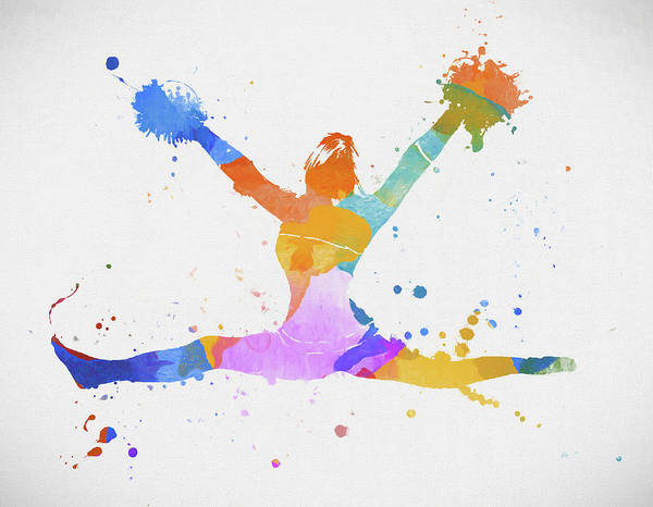 Painting - Cheerleader Paint Splatter by Dan Sproul