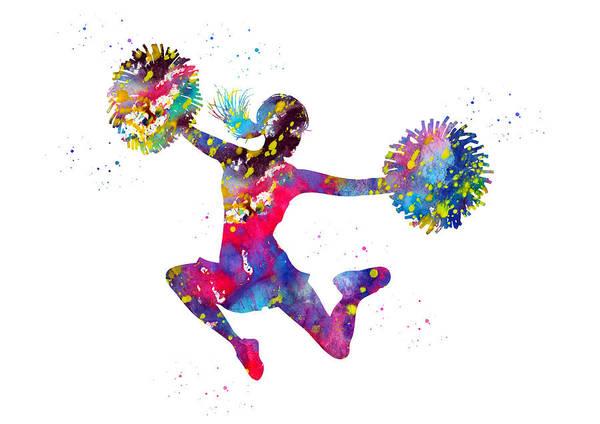Cheerleaders Digital Art - Cheerleader With Pompoms by Erzebet S