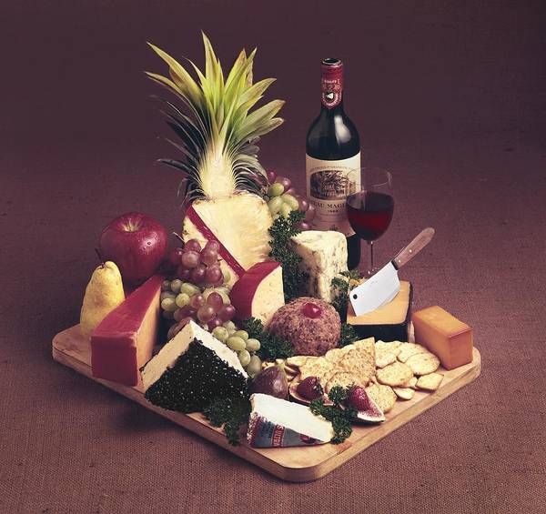 Tray Photograph - Cheese Tray With Wine by Tom Kelley Archive