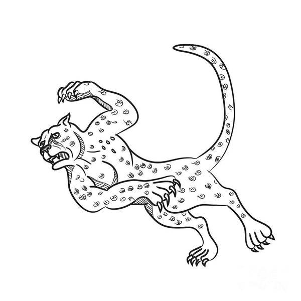 Wall Art - Digital Art - Cheetah Falling Down Cartoon by Aloysius Patrimonio