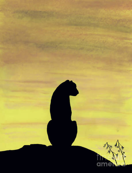 Drawing - Cheetah Sunset by D Hackett