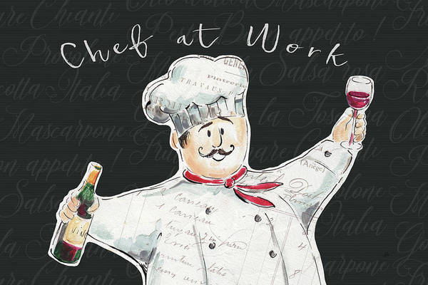 Men At Work Wall Art - Painting - Chef At Work I by Daphne Brissonnet