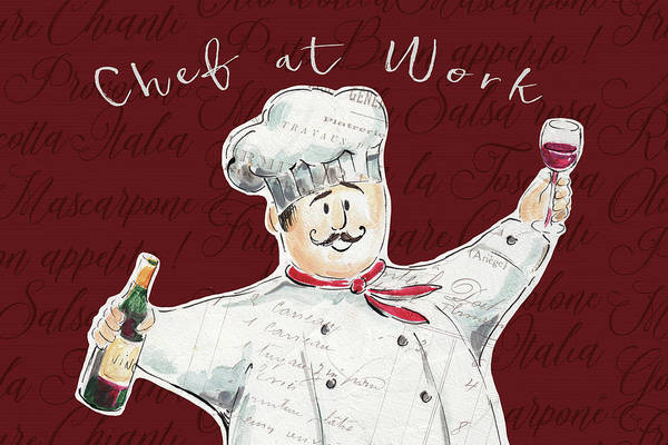 Burgundy Painting - Chef At Work II by Daphne Brissonnet