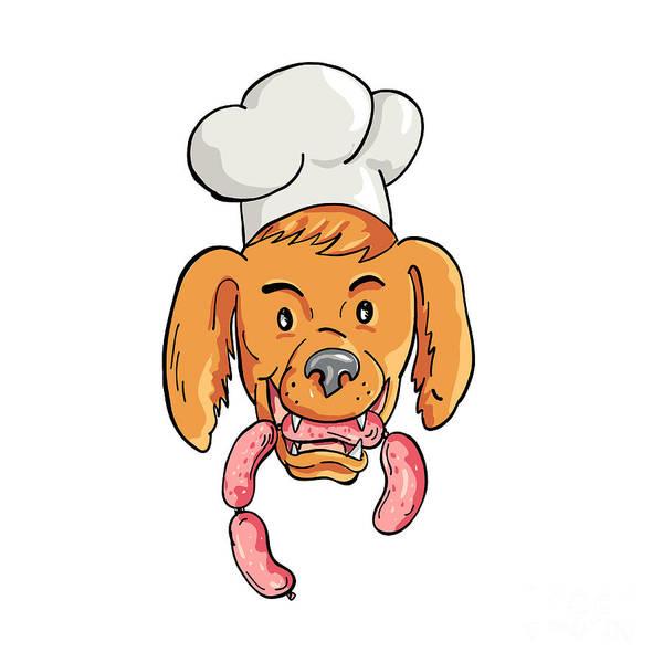 Wall Art - Digital Art - Chef Dog Biting Sausage String Cartoon Color by Aloysius Patrimonio