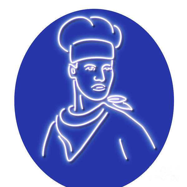 Wall Art - Digital Art - Chef Looking To Side Glowing Neon Sign by Aloysius Patrimonio