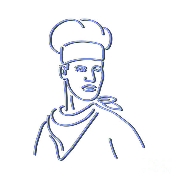 Wall Art - Digital Art - Chef Looking To Side Neon Sign by Aloysius Patrimonio