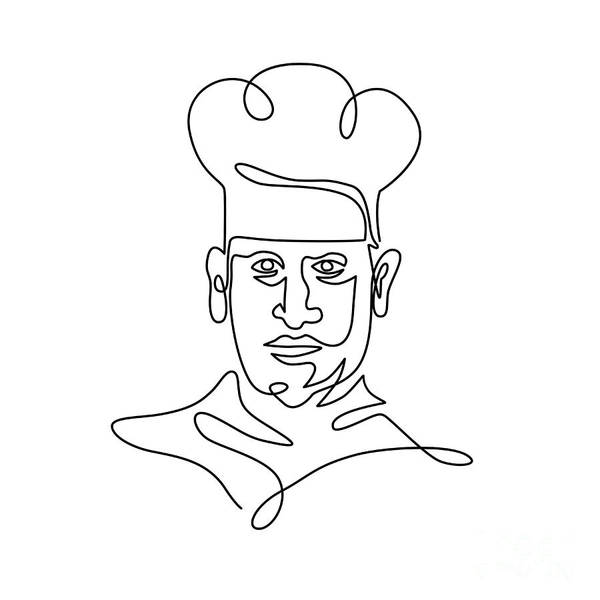 Wall Art - Digital Art - Chef Wearing Toque Hat Continuous Line by Aloysius Patrimonio