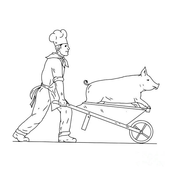 Wall Art - Digital Art - Chef With Wheelbarrow And Pig Drawing Black And White by Aloysius Patrimonio