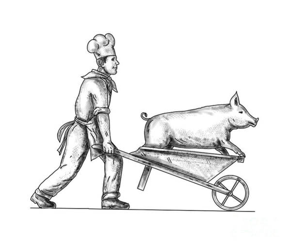 Wall Art - Digital Art - Chef With Wheelbarrow And Pig Tattoo by Aloysius Patrimonio