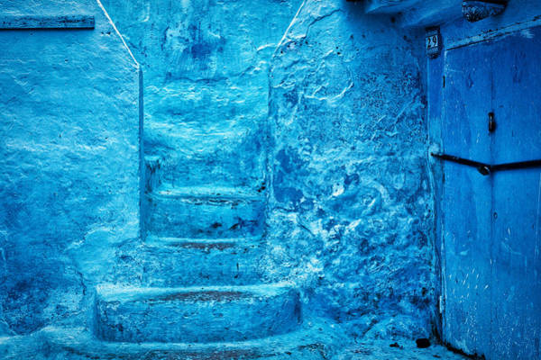 Photograph - Chefchaouen Blue Stone Steps - Morocco by Stuart Litoff