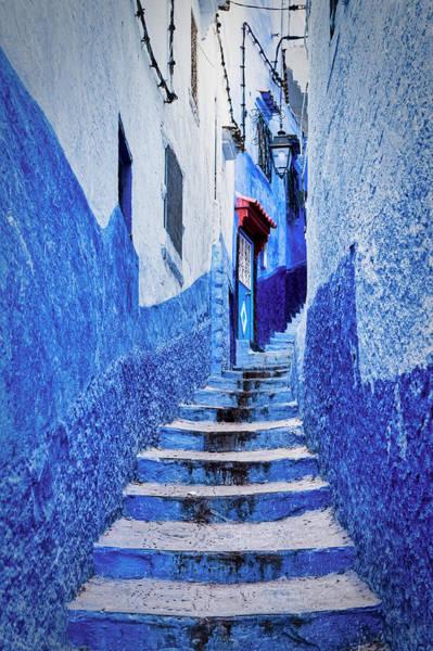 Photograph - Chefchaouen Curving Steps - Morocco by Stuart Litoff