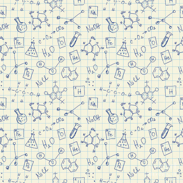 Chemistry Wall Art - Digital Art - Chemistry Doodles Seamless Pattern by Angelinast