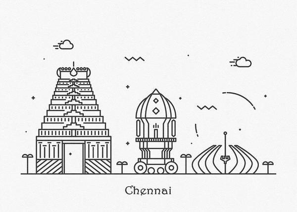 Landmark Center Drawing - Chennai Cityscape Travel Poster by Inspirowl Design