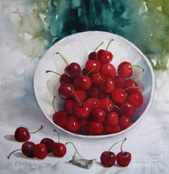 Wall Art - Painting - Cherries 3 by Elena Oleniuc