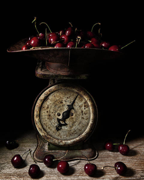 Wall Art - Photograph - Cherries On Scale by Richard Rizzo