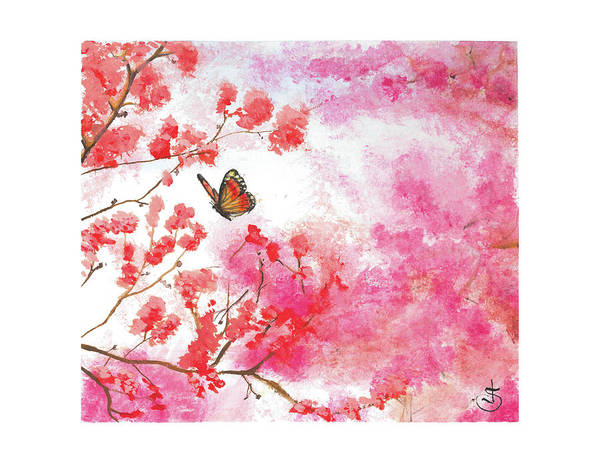 Painting - Cherry Blossoms And Butterfly by Jeremiah Skurtu