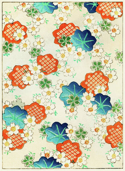 Wall Art - Painting - Cherry Blossoms And  Fallen Leaf- Japanese Traditional Pattern Design by Watanabe Seitei