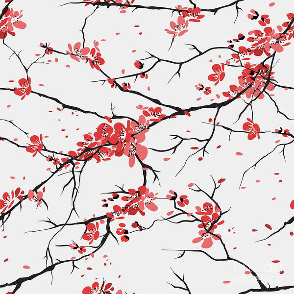 Wall Art - Digital Art - Cherry Or Sakura Seamless Pattern by Sofiav