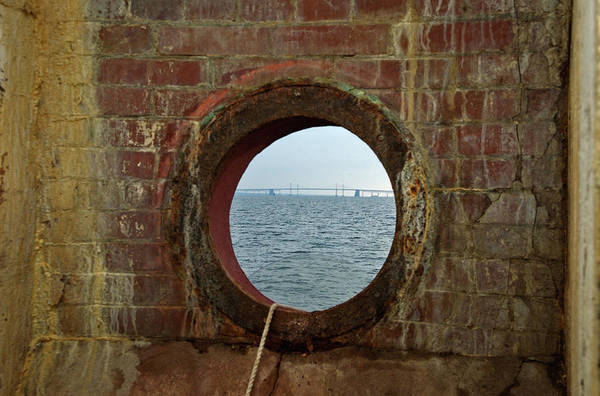Photograph - Chesapeake Bay Bridge From Baltimore Light by Mark Duehmig