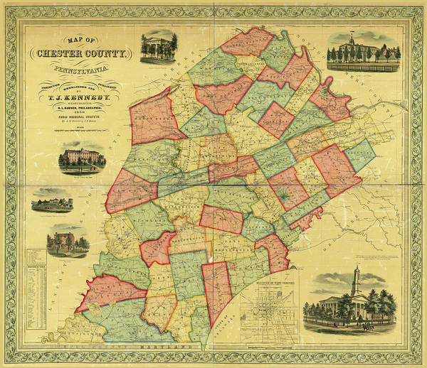 Photograph - Chester County Pennsylvania Map 1856 by Richard Reeve
