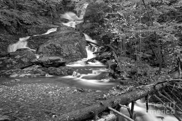 Photograph - Chester Sanderson Brook Falls Black And White by Adam Jewell