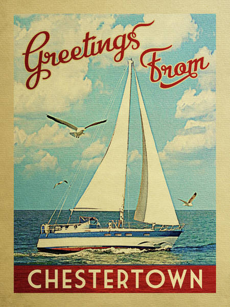 Seagull Digital Art - Chestertown Sailboat Vintage Travel by Flo Karp