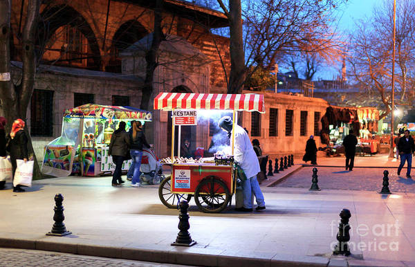 Chestnut Hill Photograph - Chestnuts At Night Istanbul by John Rizzuto