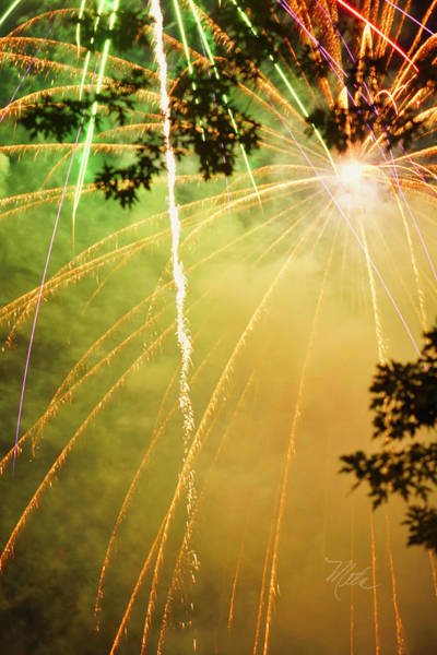 Yellow Fireworks Art Print