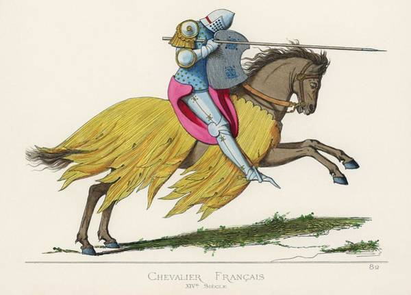 Wall Art - Painting - Chevalier Francais, Xive Siecle, Translated French Knight, 14th Century, By Paul Mercuri  1860  by Celestial Images