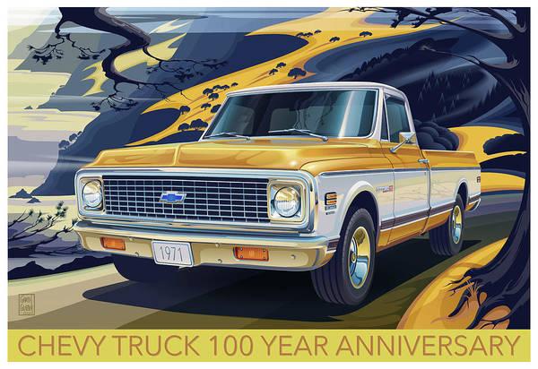 Wall Art - Digital Art - Chevrolet Centennial1971 C10 Cheyenne Fleetside by Garth Glazier
