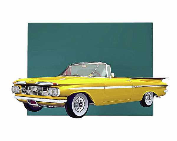 Digital Art - Chevrolet Impala 1959 Convertible by Jan Keteleer