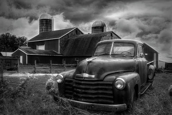 Wall Art - Photograph - Chevrolet In The Countryside In Black And White by Debra and Dave Vanderlaan