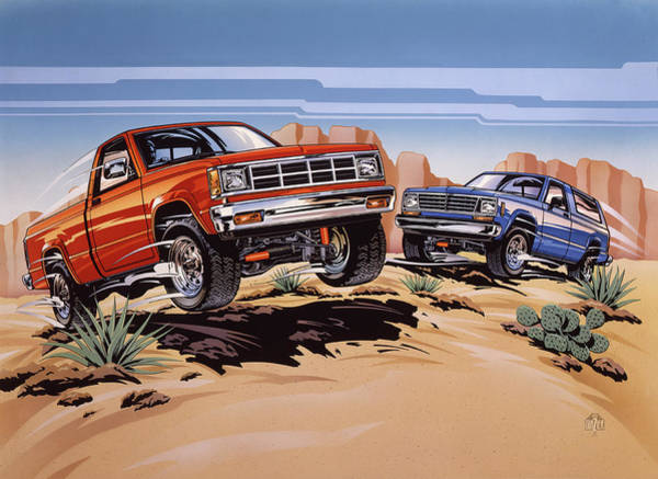 Wall Art - Painting - Chevrolet S-10 And Blazer Trucks by Garth Glazier