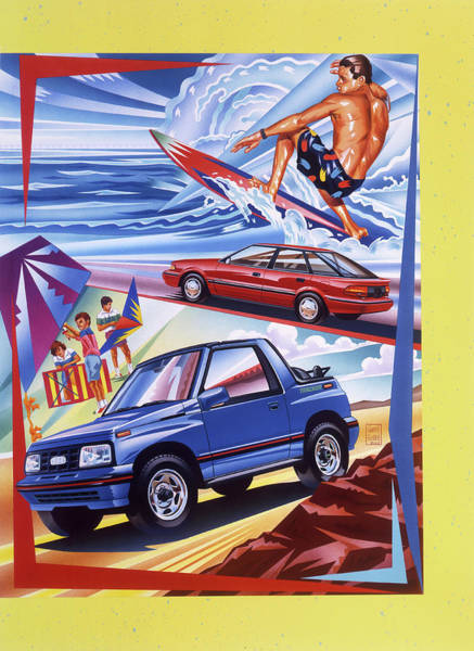 Drive-ins Painting - Chevrolet Tracker And Prism Surfer Scene by Garth Glazier