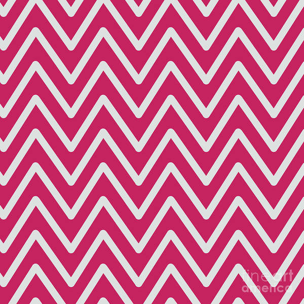 Digital Art - Chevron Wave Crimson Red by Sharon Mau