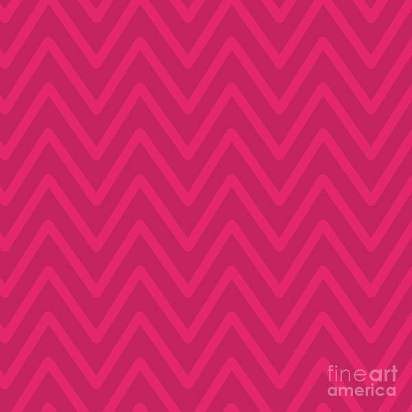 Wall Art - Digital Art - Chevron Wave Vivid Pink Duotone by Sharon Mau