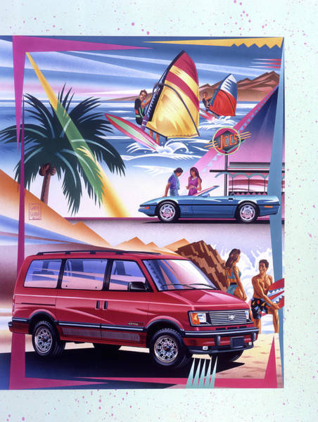 Drive-ins Painting - Chevy Astro Van And Corvette Surfer Scene by Garth Glazier