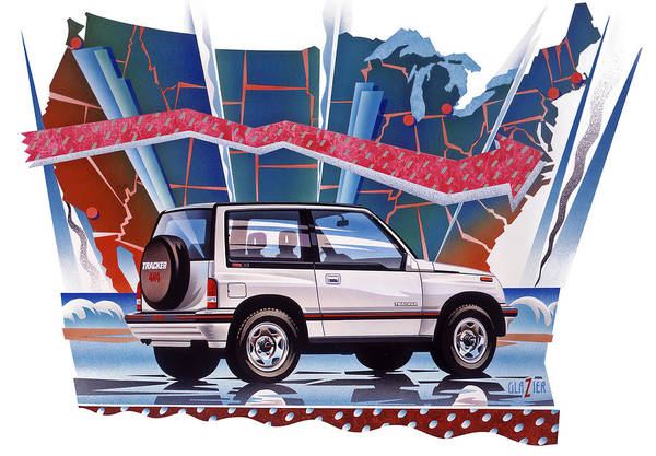Wall Art - Painting - Chevy Tracker Car Illustration by Garth Glazier