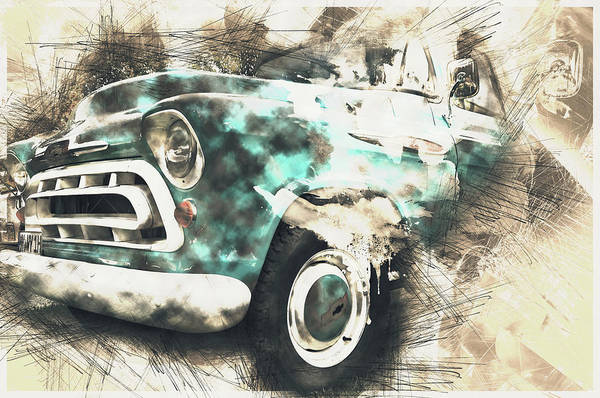Pick Up Truck Digital Art - Chevy Truck Abstract by Tim Palmer
