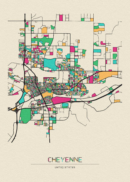 Wall Art - Drawing - Cheyenne, Wyoming City Map by Inspirowl Design