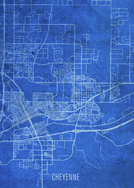 Wall Art - Mixed Media - Cheyenne Wyoming City Street Map Blueprints by Design Turnpike