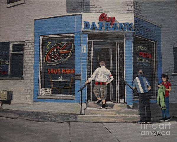Montreal Street Scene Painting - Chez Da Frank by Reb Frost